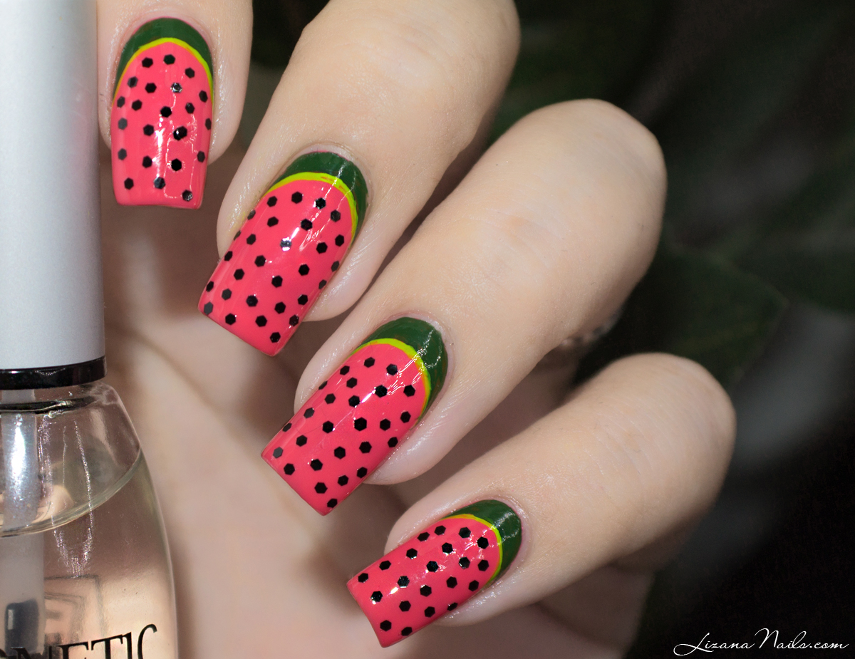 30 juicy watermelon nails nail design ideaz 29watermelon design on square tip nails prinsesfo Images
