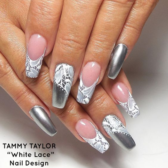 30White Lace Nail Design - 30 Sophisticated Lace Nail Designs Nail Design Ideaz