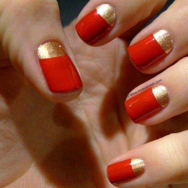 6Bleak Red and Gold Nail Design - 40 Flamboyant Red And Gold Nails Nail Design Ideaz