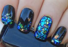 Blue Theme Shattered Glass Nail Art