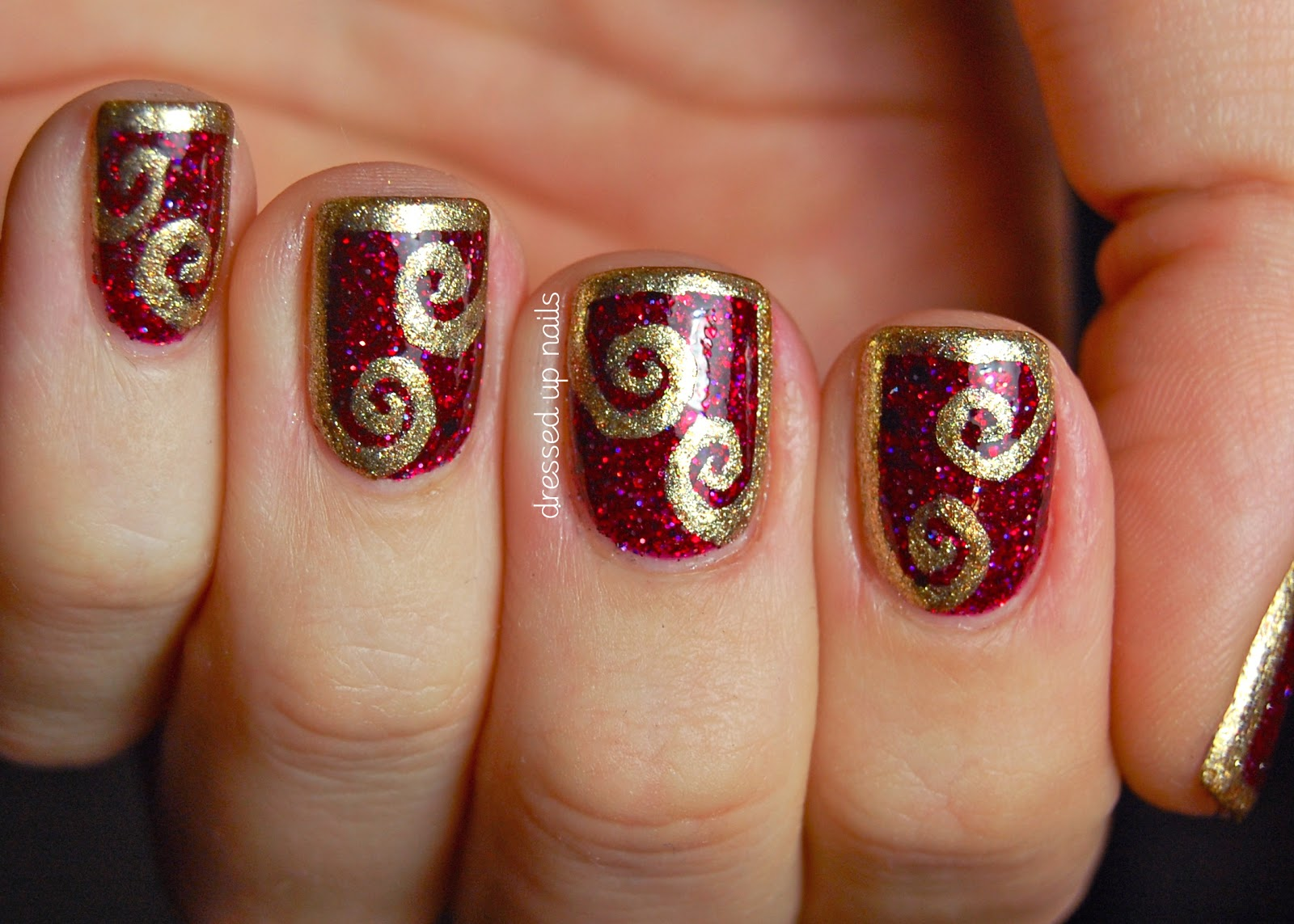 40 Flamboyant Red And Gold Nails Nail Design Ideaz