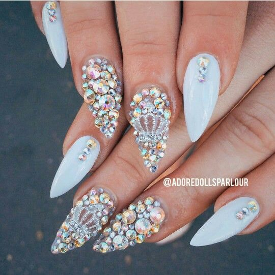 - 30 Gleaming Nail Designs With Rhinestones Nail Design Ideaz