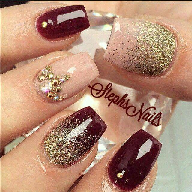 30Dark Red Nails With Gold Glitter And Gems - 30 Hot Dark Red Nails Nail Design Ideaz