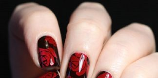 Dark Red Roses Nail Design