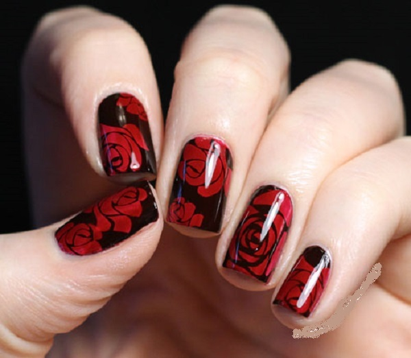 30 Hot Dark Red Nails