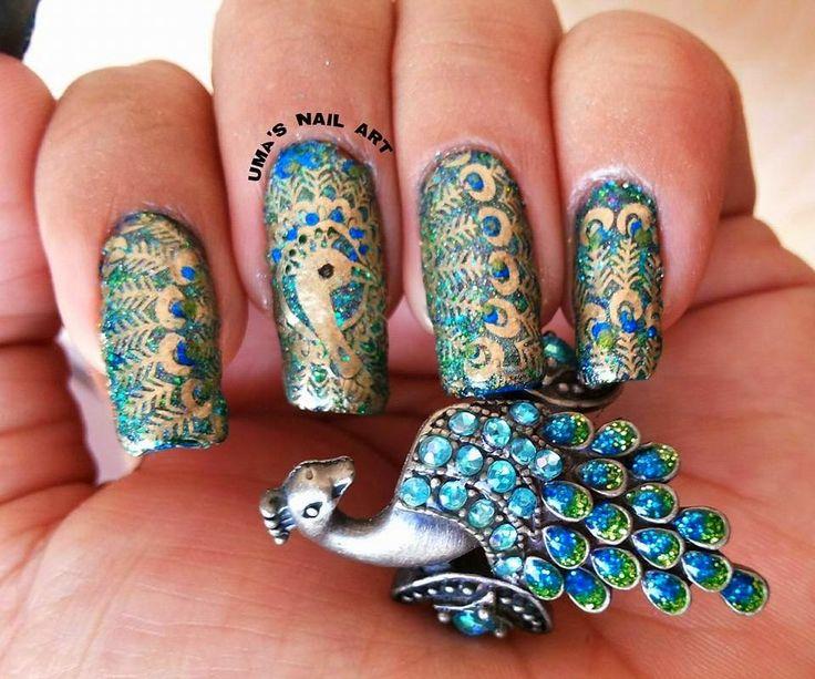 30 Gorgeous Peacock Nail Design Nail Design Ideaz