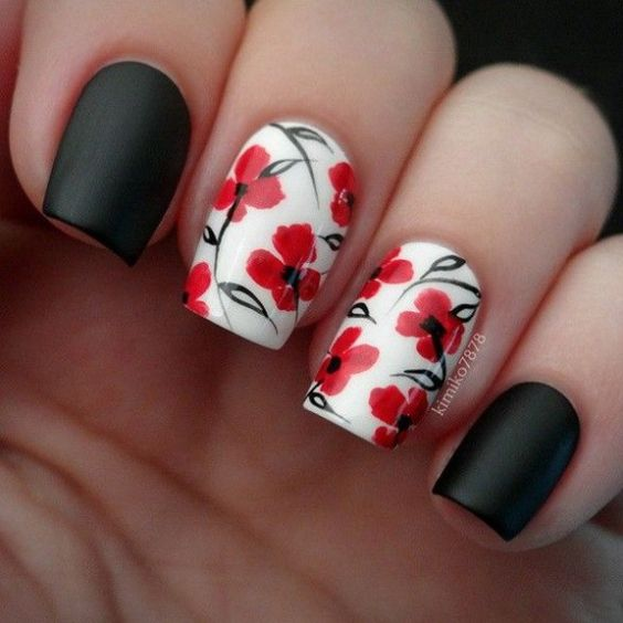 39Floral Nail Art - 40 Arresting Black And Red Nail Designs Nail Design Ideaz