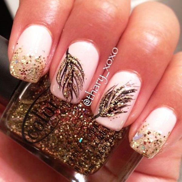 32glittered Feather Nail Design