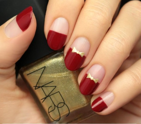 19Gold Bow in Red French Tip Nail Design - 40 Flamboyant Red And Gold Nails Nail Design Ideaz