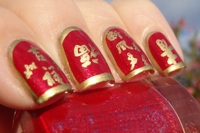 40 flamboyant red and gold nails nail design ideaz 11gold rush and red chinese new year nail art design prinsesfo Choice Image