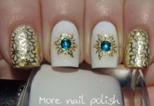 Gold Sun With Gems On White Polish