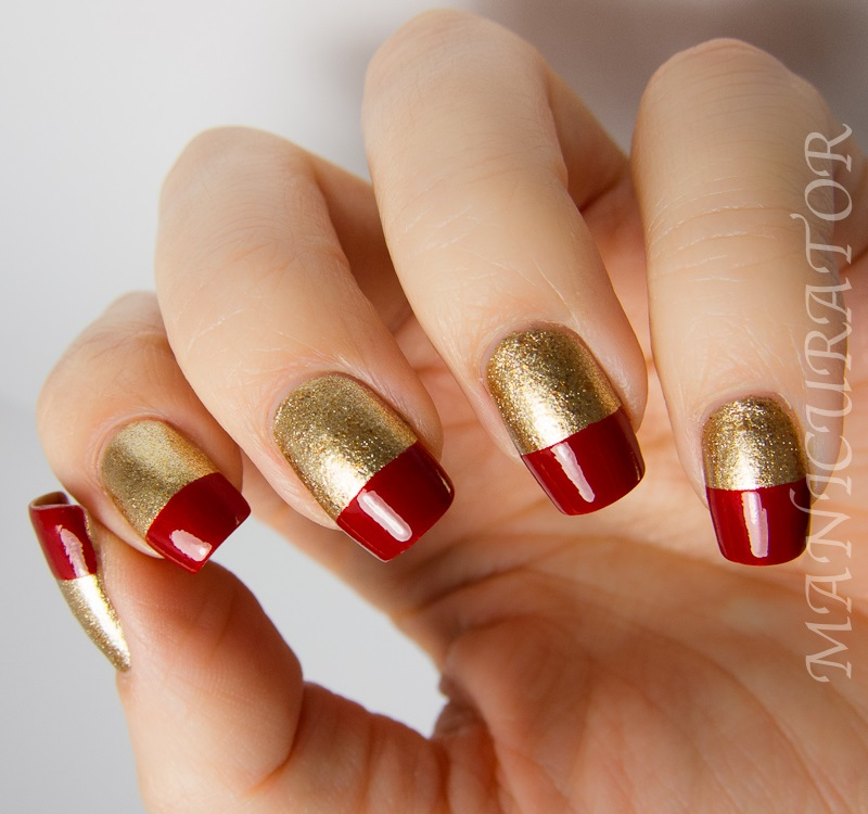 37half gold and red nail design