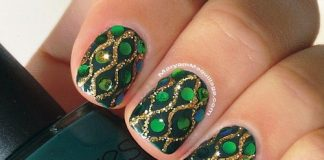 Intricate Rhinestone Patterned Green Nails