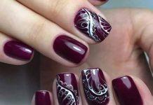 Lace Design On Burgundy Polish