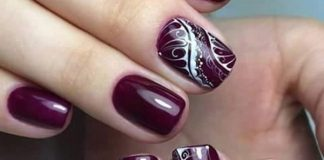 Lace Design On Burgundy Polish