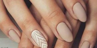 Lace Design On Nude Nails