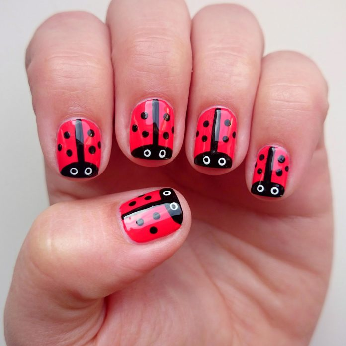 30Lady Bug Nails - 30 Admirable Nails For Little Girl Nail Design Ideaz