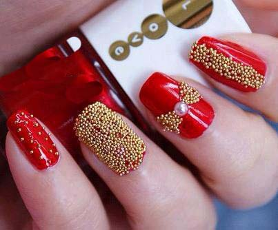 40 flamboyant red and gold nails nail design ideaz 25lady chic nail prinsesfo Image collections