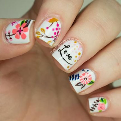 49Love in Floral Nails - 50 Love Nails Perfect For Romantics Nail Design Ideaz
