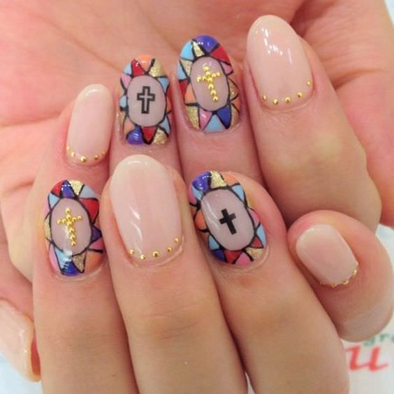 30 Praiseworthy Cross Nail Art Nail Design Ideaz