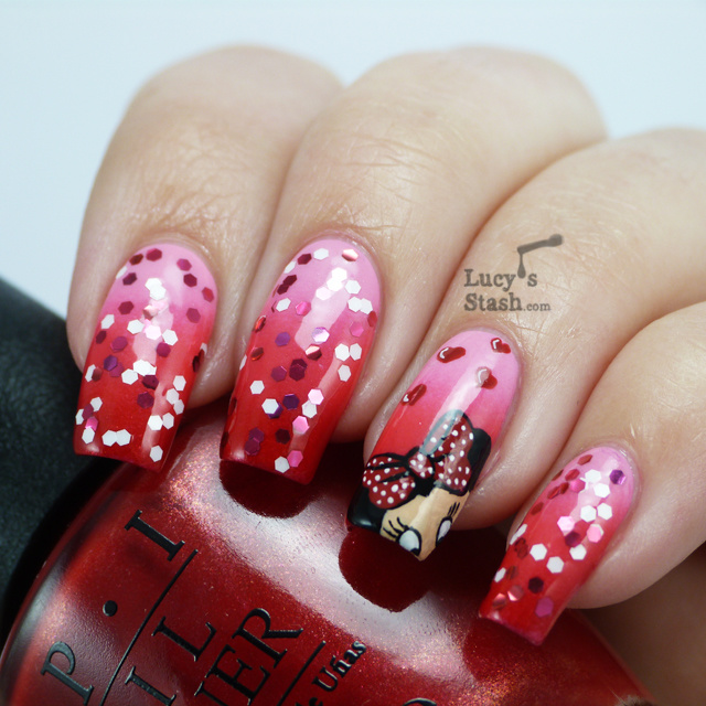 25Minnie Mouse Design On Gradient Nails - 25 Minnie Mouse Nail Art Nail Design Ideaz