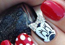 Minnie Nails With Diamond Bow