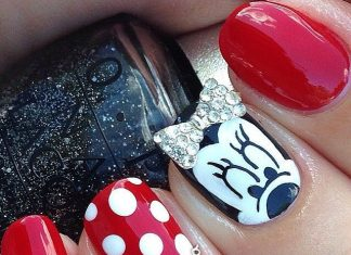 Minnie Nails With Diamond Bow