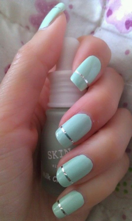 30Mint French Nails - 30 Refreshing Mint Green Nails Nail Design Ideaz