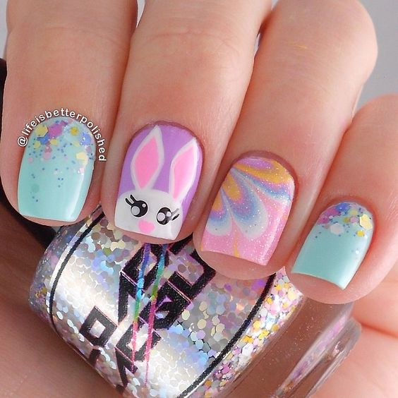 35 Cute As Hell Bunny Nails Nail Design Ideaz