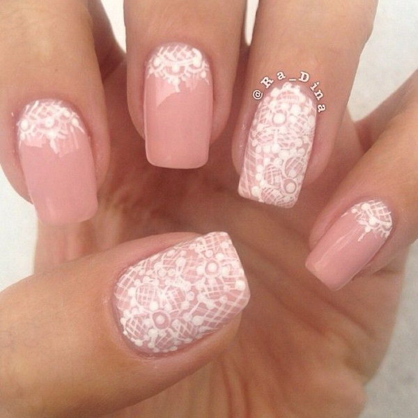 32Pink And White Lace Nail Design