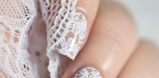 Pretty While Lace Nail Design