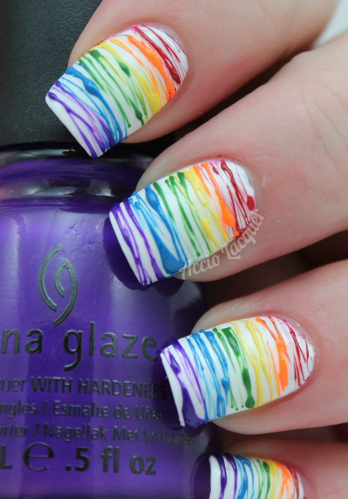 35Rainbow Colors On White Polish - 35 Bright Rainbow Nail Art Nail Design Ideaz