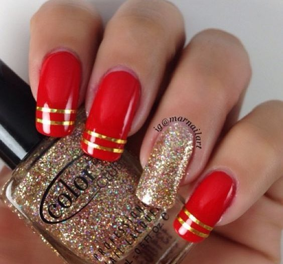 7Red with Gold Tip Nail Design - 40 Flamboyant Red And Gold Nails Nail Design Ideaz