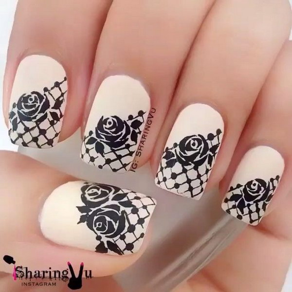 30Rose Lace Nail Tips - 30 Lovely Lace Nail Designs Nail Design Ideaz
