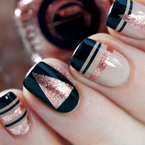 29Striping Tape with Rose Gold Into Geometric Nail - 30 Bold Geometric Nail Art Nail Design Ideaz