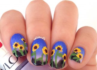 Sunset Sunflower Nail Art