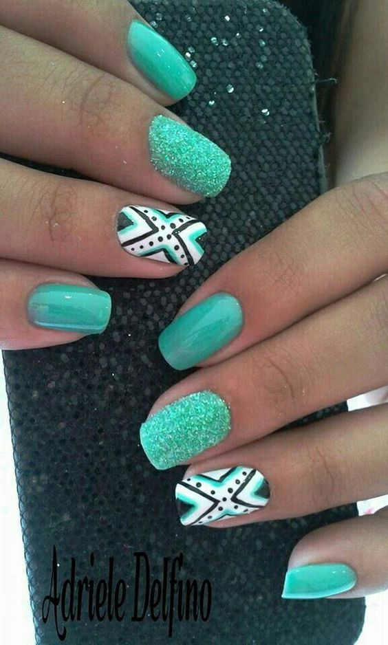 30Teal Tribal Nails - 30 Stylish Teal Nail Designs Nail Design Ideaz