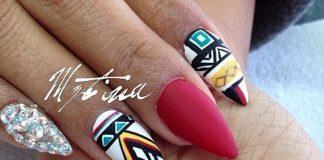 Tribal Inspired Almond Nail Art