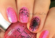 Black Dandelion On Shimmering Pink Nails