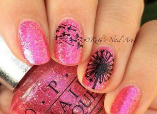 Black Dandelion On Shimmering Pink Nails