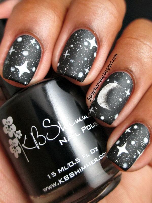 38cosmic Stars On Matte Black Nails