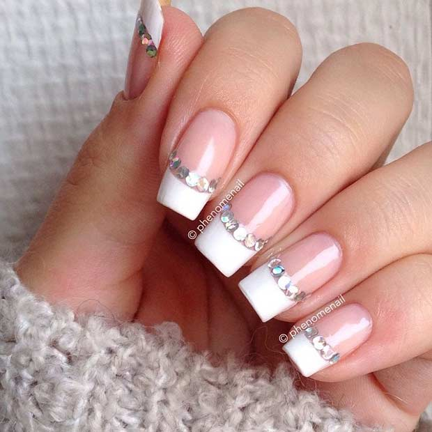 30 stylish white french tip nails nail design ideaz 30french tip with rhinestones nail art prinsesfo Gallery