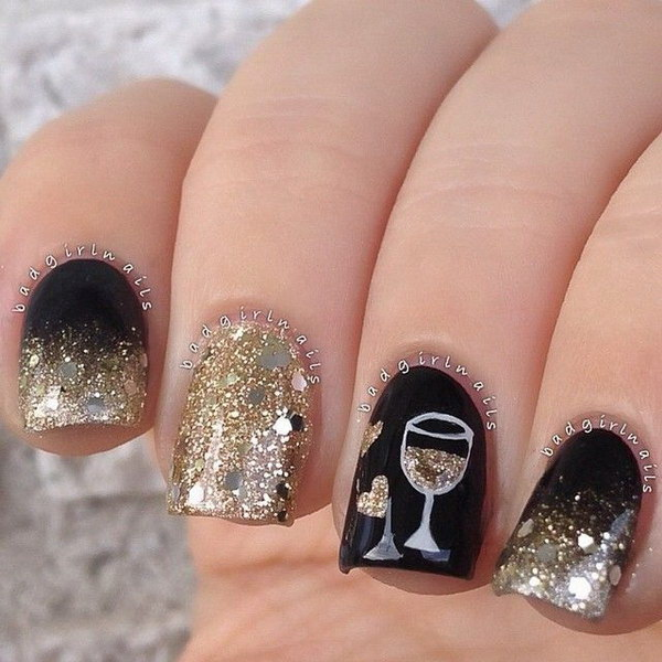 Gold For Prom Nail Ideas: 40 Nail Designs With Glitter And Bling
