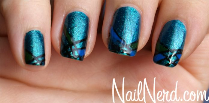 Light Blue Acrylic Nails With Rhinestones