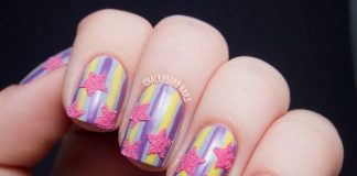 Textured Pink Stars On Striped Nails