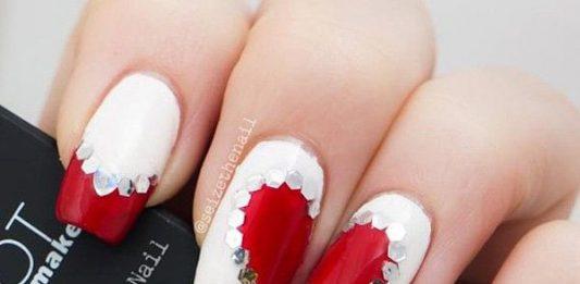 Valentine's Rhinestone Studded Nails