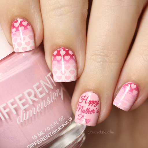 15 sweet mothers day nail art nail design ideaz 15happy mothers day nail stamped with heart stencils prinsesfo Gallery