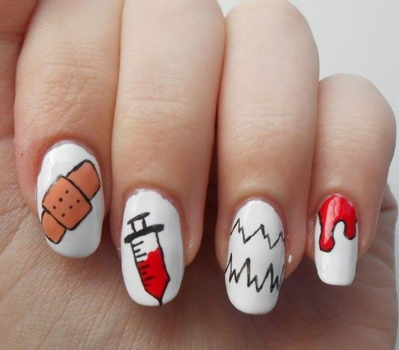 100 nurse nail designs inspired by the medical profession nail 42blood syringe life line and band aid nail design prinsesfo Choice Image