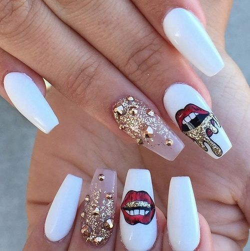 4Long White Red Lips Gold Nail Art Design - 20 Best Coffin Nail Designs Nail Design Ideaz
