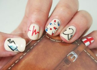 Syringe, Life Line, Pills, Stethoscope And Red Cross Nail Design